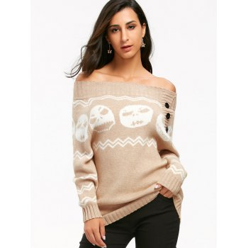 Skull Off The Shoulder Tunic Sweater - LIGHT KHAKI M