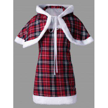 Hooded Plaid Capelet with Tube Dress - L L
