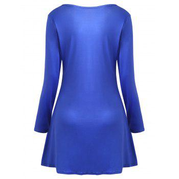Christmas Long Sleeve Print Mini Swing Dress - BLUE M