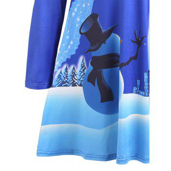 Christmas Long Sleeve Print Mini Swing Dress - BLUE BLUE