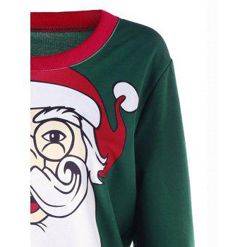 Plus Size Christmas Santa Claus Print Sweatshirt - DEEP GREEN 3XL