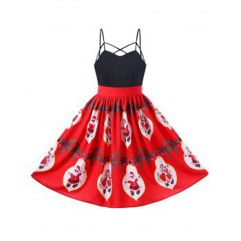 Santa Claus Strappy Swing Dress - RED RED
