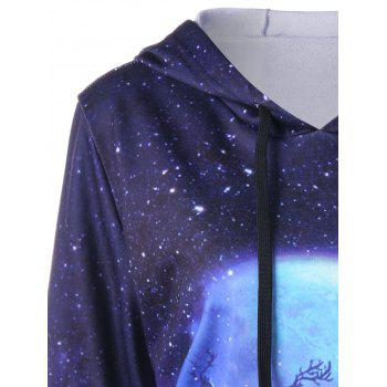 Christmas Plus Size Galaxy Reindeer Hoodie - COLORMIX XL