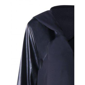 PU Leather Trim Hooded Duster Coat - BLACK 3XL