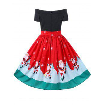 Christmas Off The Shoulder Swing Dress - RED M