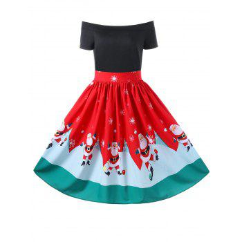 Christmas Off The Shoulder Swing Dress - RED RED
