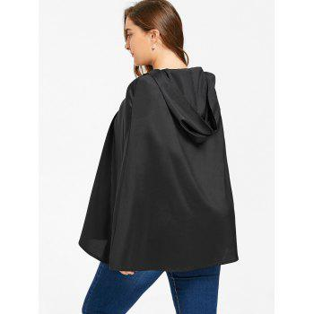 Plus Size Hooded Cape - BLACK XL