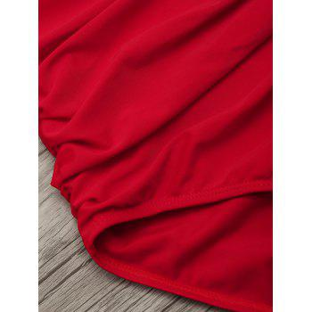 One Piece Ruched Halter Swimsuit - RED M