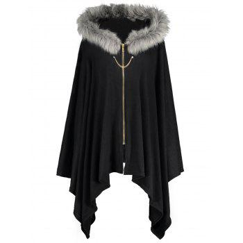 Faux Fur Trim Asymmetric Plus Size Cape Coat
