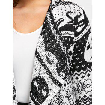 Halloween Skull Plus Size Drape Sweater Cardigan - BLACK WHITE BLACK WHITE