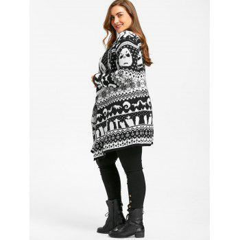Halloween Skull Plus Size Drape Sweater Cardigan - BLACK WHITE 4XL