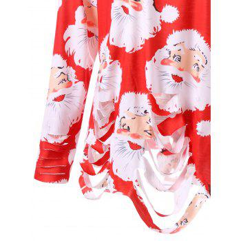 Plus Size Santa Claus Print Ripped Tunic T-shirt - RED 3XL