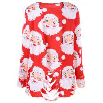 Plus Size Santa Claus Print Ripped Tunic T-shirt - RED RED