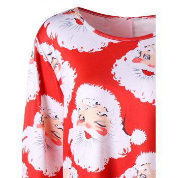 Plus Size Santa Claus Print Mini Swing Dress - RED 2XL
