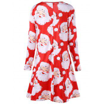 Plus Size Santa Claus Print Mini Swing Dress - RED 4XL