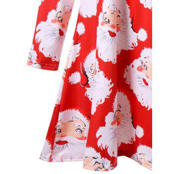 Plus Size Santa Claus Print Mini Swing Dress - RED 5XL