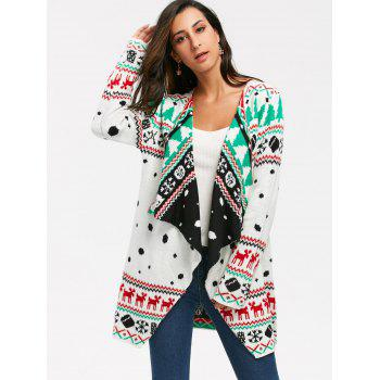 Christmas Graphic Tunic Draped Knitted Cardigan - WHITE WHITE