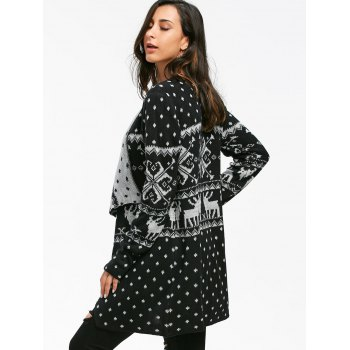 Geometric Christmas Elk Tunic Draped Cardigan - BLACK BLACK