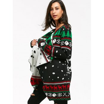 Christmas Graphic Tunic Knitted Draped Cardigan - BLACK BLACK