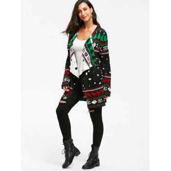 Christmas Graphic Tunic Knitted Draped Cardigan - BLACK L