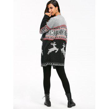 Christmas Reindeer Polka Dot Draped Tunic Cardigan - COLORMIX M