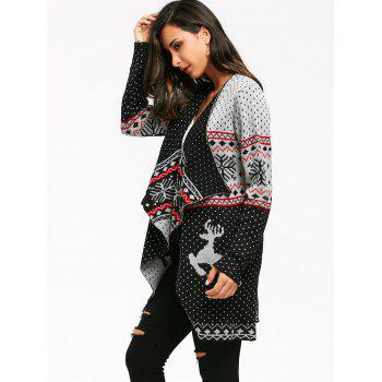 Christmas Reindeer Polka Dot Draped Tunic Cardigan - COLORMIX COLORMIX