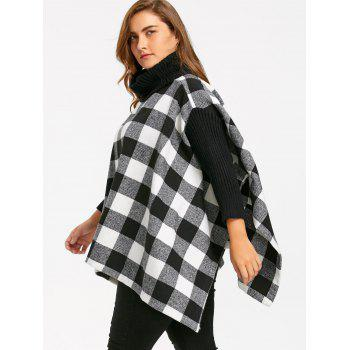 Plus Size Turtleneck Plaid Poncho Coat - BLACK WHITE XL