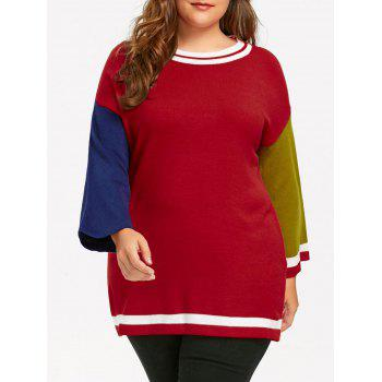 Plus Size Long Color Block  Sweater - RED RED