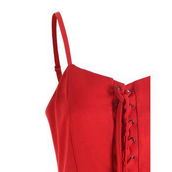 Christmas Lace-up Slip Dress - RED RED