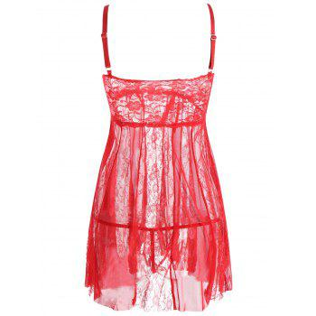 Lace Slip See Through Babydoll - RED RED