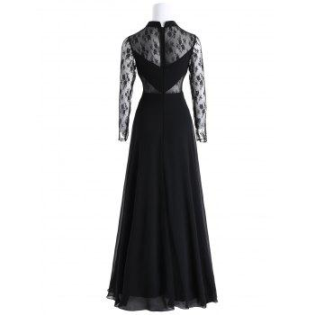 Bowknot Lace Panel Maxi Evening Dress - BLACK L