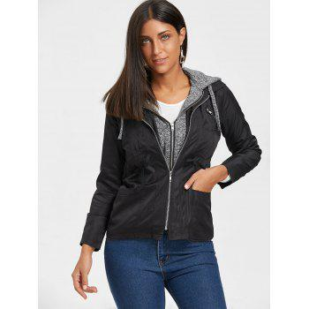 Hooded Double Zipper Faux Twinset Jacket - BLACK BLACK