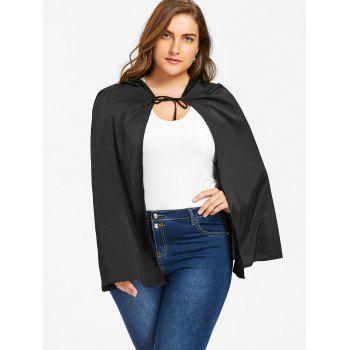 Plus Size Hooded Cape - BLACK BLACK