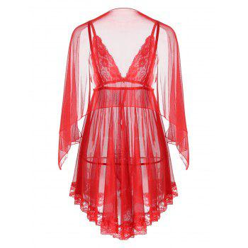 Mesh See Through Slip Babydoll - RED RED