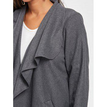 Tunic Draped Wool Coat - DARK GRAY DARK GRAY