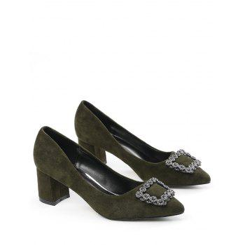Chunky Heel Pointed Toe Rhinestone Pumps - ARMY GREEN ARMY GREEN