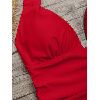 One Piece Ruched Halter Swimsuit - RED RED