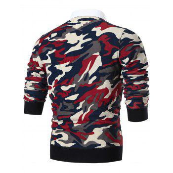 Shirt Neck Camouflage Print Pullover Sweater - RED RED