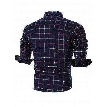 Faux Fur-lined Pocket Long Sleeve Plaid Shirt - RED RED
