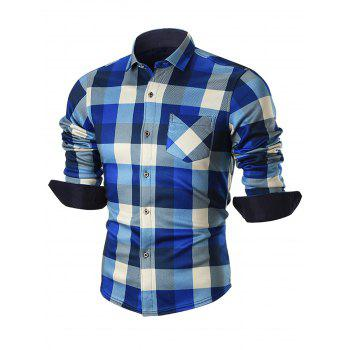 Fleece-lined Chest Pocket Checkered Shirt - BLUE BLUE