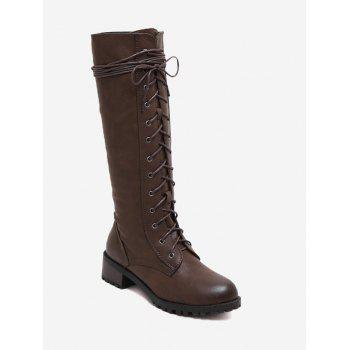 Chunky Heel Tie Up Mid Calf Boots - BROWN BROWN