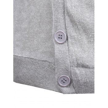 Knitted Oblique Button Up Cardigan - LIGHT GRAY LIGHT GRAY