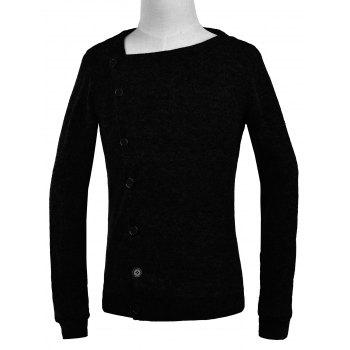 Knitted Oblique Button Up Cardigan - BLACK BLACK