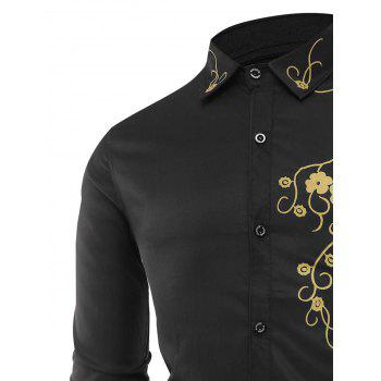 Long Sleeve Flowers Print Shirt - BLACK 4XL