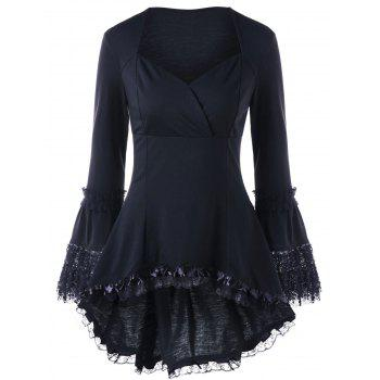 Halloween Sweetheart Neck Lace Up Top - BLACK L