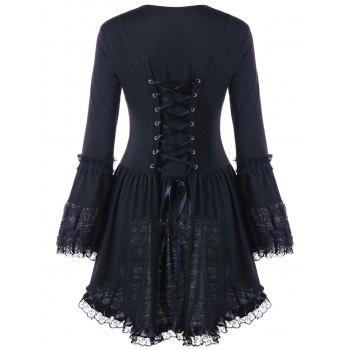 Halloween Sweetheart Neck Lace Up Top - BLACK BLACK