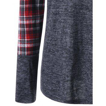 Patch Pocket Raglan Sleeve Plaid Top - GRAY L