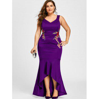 Plus Size V Neck Sleeveless Mermaid Dress - PURPLE 3XL