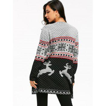 Christmas Reindeer Polka Dot Draped Tunic Cardigan - COLORMIX L