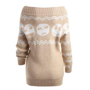 Skull Off The Shoulder Tunic Sweater - LIGHT KHAKI S